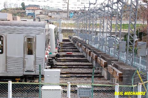 制走堤コンクリートの強固な壁(東急・長津田検車区)